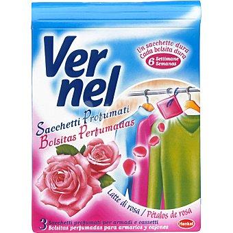 Vernel Ambientador en bolsitas perfumadas rosas Caja 3 unidades