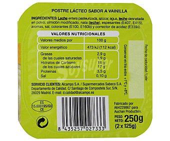 Productos Económicos Alcampo Natillas de vainilla Pack 2 unidades de 125 gramos