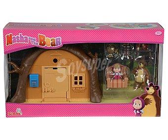 Simba Escenario de juego Playset Casa de Oso, incluye figuras de Masha y el Oso, y accesorios simba