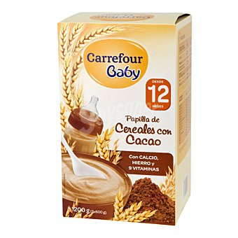 Carrefour Baby Papilla cereales con cacao Pack 2x600 g
