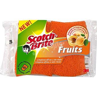 Scotch Brite Estropajo fibra no raya Fruits enriquecido con hueso de albaricoque super absorbente Envase 2 unidades