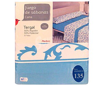 Auchan Juego de sábanas etampadas, modelo Ornamental en tonos turquesa para cama de 135 centímetros, 1 unidad
