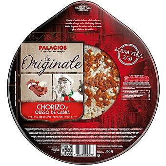 Palacios pizza de masa fina con chorizo y queso de cabra  envase 360 g