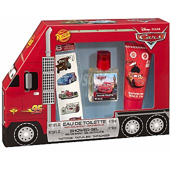 DISNEY PIXAR Cars eau de toilette natural infantil + gel de baño frasco 60 ml + tatuajes Spray 30 ml