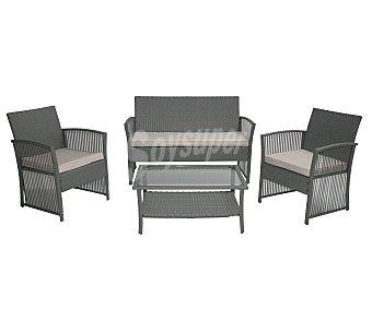 PLOOS Conjunto de muebles para salón modelo montreal compuesto de: 1 mesa de acero/cristal, 1 banco y 2 sillones en color gris, recubiertos de malla de plástico (efecto rattan) y cojines incluidos 1 unidad