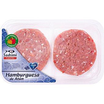 SASHIMI FUENTES Hamburguesas de atún con pimiento rojo y cebolla Bandeja 2 unidades