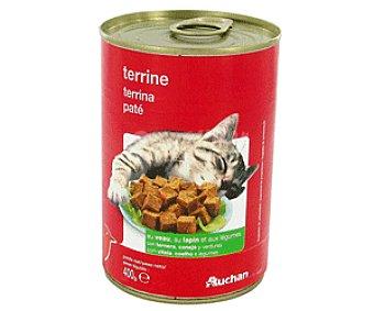 Auchan Comida Húmeda para Gato de Pate de Ternera y Conejo Lata 400 Gramos