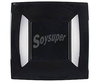 Gabbiano Hondos cuadrados de color negro, 18 x 18 cm, gabbiano iberia Pack de 6 platos