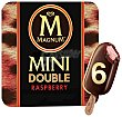 Mini bombón helado con doble capa de chocolate y relleno de helado de frambuesa double raspberry Paquete 6 x 60 ml - 360 ml Magnum Frigo
