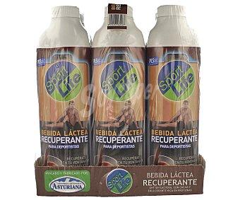 Sportlife Bebida láctea recuperante con sabor a chocolate 6 unidades de 1 litro