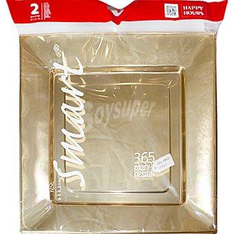 SMART Bandeja Noel cuadrada oro 31x31 paquete 2 unidades Paquete 2 unidades