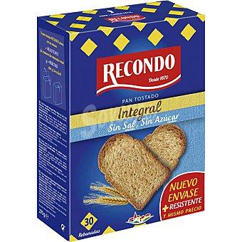 Recondo pan tostado integral sin sal y sin azúcar 30 rebanadas Paquete 270 g