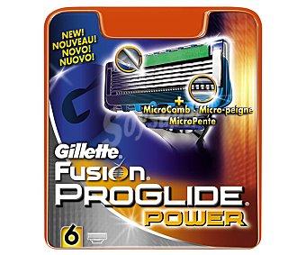 Gillette Fusion Proglide Recambio de cuchillas 5 hojas para maquinilla de afeitar  Blister 6 unidades