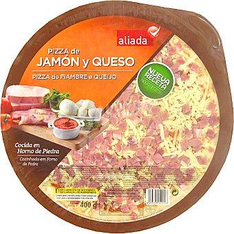 Aliada Pizza de jamón y queso cocida en horno de piedra Envase 400 g