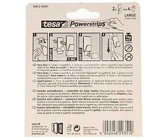 Tesa Juego de 2 ganchos adhesivos y removibles sin dejar huella de tamaño grande y de color transparente con toques blancos + 4 tiras adhesivas, modelo Powerstrips 2 unidades