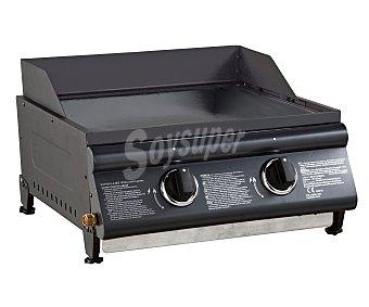 GARDEN MAX Plancha de gas fabricada en hierro fundido con 2 quemadores de acero inoxidable, plancha de acero fundido esmaltado, paravientos y patas ajustables. Ideal para 2 a 4 personas 1 unidad