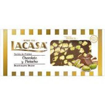 Lacasa Turrón de chocolate con pistacho Caja 200 g