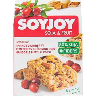 SOYJOY Soja & Fruit Barrita snack de soja y fruta sabor almendras y arándano rojo 6 unidades caja 138 g 6 unidades