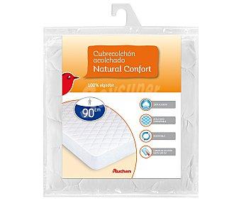 Auchan Cubre colchón acolchado 100% algodón para camas de 90x190 centímetros 1 unidad