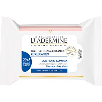 Diadermine Toallitas desmaquillantes refrescantes 3 en 1 para cara ojos y labios para piel normal y mixta bolsa de 25 unidades