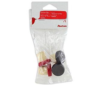 Auchan Tapones de corcho para botellas Pack de 4 unidades