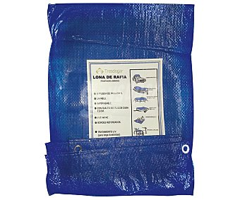 Tresdogar Lona o suelo de rafia de de color azul o verde, con ojales de aluminio a intervalos, bordes reforzados y medidas de 3 x 4 metros tresdogar 80 gramos