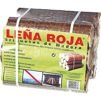 LEÑA ROJA Briquetas de madera para chimineas, estufas y calderas Envase 10 kg