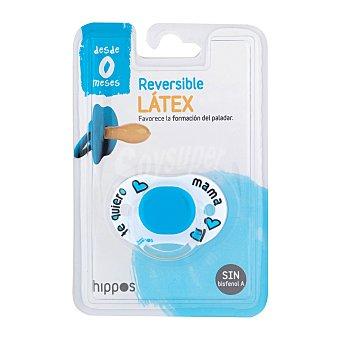 Hippos Chupete látex reversible de 0 a 6 meses color azul 1 unidad