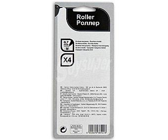 Auchan Lote de 4 bolígrafos del tipo roller, punta media con grosor de escritura de 0.7 milímetros y tinta líquida azul, negra, roja y verde 1 unidad