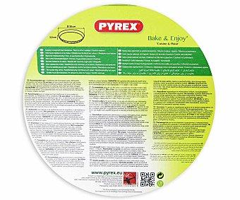 PYREX Molde redondo plano para tartas de vidrio borosilicato, 30 Centímetros de Diámtero 1 Unidad