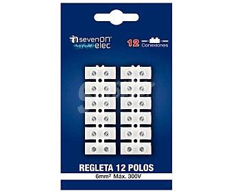 SEVENON Regleta / clema de 12 polos, de color blanco y de 6 mm², sevenon