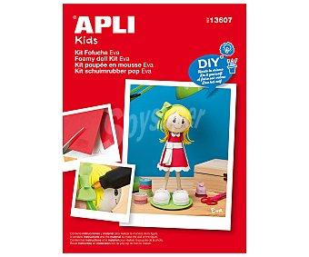 APLI Kit para hacer tu propia Fofucha Eva con vestido rojo, diy, hazlo tu mismo 1 unidad