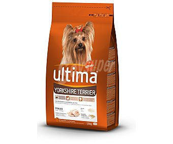 Ultima Affinity Alimento para perros Yorkshire Terrier rico en pollo y arroz para perros de raza mini  Bolsa de 1,5 kg