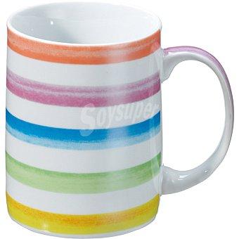 Casactual Strippes Mug en color blanco rayas de colores 33 cl 1 Unidad