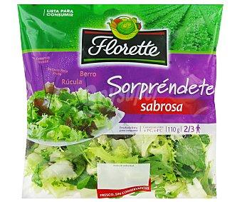Florette Ensalada sabrosa con escarola rizada, brotes de batavia roja, rúcula y berro  Bolsa 110 g