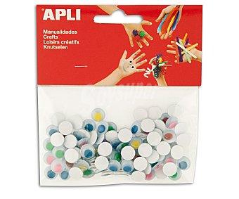 APLI Bolsa de 100 ojos móviles adhesivos de goma eva y de diferentes colores apli