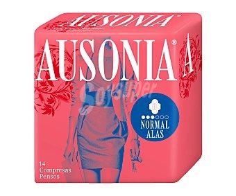 Ausonia Compresa normal con alas Paquete 14 unid