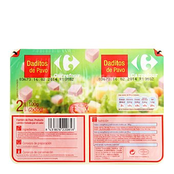 Carrefour Daditos de pavo Pack de 2x50 g