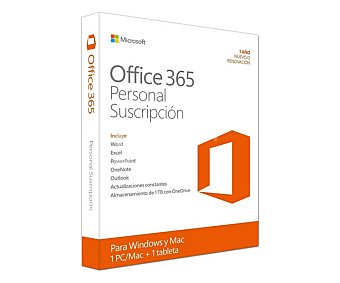 Microsoft office 365 Software Personal, Word, Excel, powerpoint, Onenote, Outlook, 1 usuario/1 año, 1Pc/Mac + 1 tablet, clave sin CD
