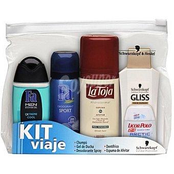 La Toja kit de viaje masculino con gel de baño Fa Extreme Cool + desodorante Fa Sport + espuma de afeitar La Toja piel sensible + champú Gliss Hair Repair + dentífrico
