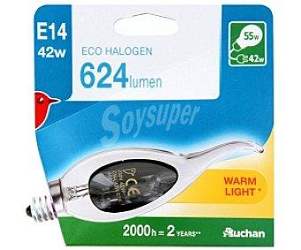 Auchan Bombilla ecohalógena vela golpe de viento 42W, casquillo E14 (fino) y luz cálida 1 unidad