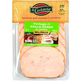 La Carloteña Pechuga de pollo asada al horno en lonchas sin gluten sin lactosa Envase 125 g