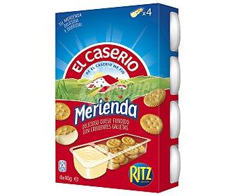 El Caserío Snack de queso con galletas saladas para untar Pack 4 u x 46 g