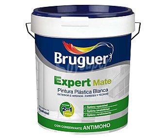 BRUGUER Pintura plástica mate para interior y exterior, con conservante antimoho, lavable y de color blanco, de la serie Expert 15 Litros