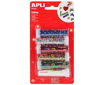 APLI Botes de purpurina de colores en polvo 6 unidades