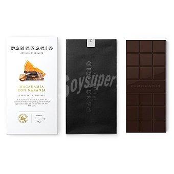 PANCRACIO Chocolate artesano con leche, piel de naranja confitada y nueces de macadamia Tableta 100 g