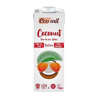 Ecomil Bebida de coco sin azúcar ecológica ecomil sin gluten Brik 1 l