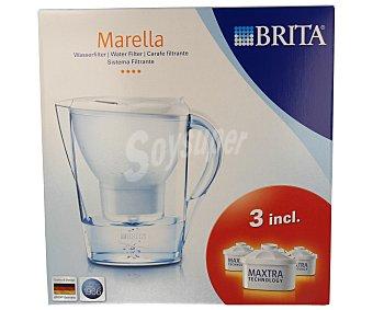 Brita Jarra purificante modelo Marella, color blanco, 2,4 litros de capacidad, incluye 2 filtros Maxtra (30días-150litros/filtro) 1 unidad