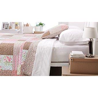 CASACTUAL  Colcha bouti patchword en tonos marrón y malva para cama 105 cm 1 Unidad