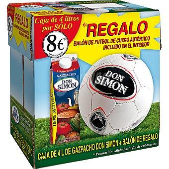 Don Simón Gazpacho tradicional pack 4 envase 1 l con regalo de balón de fútbol de cuero Pack 4 envase 1 l